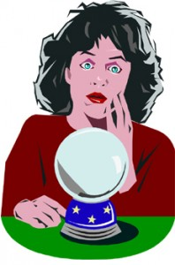 woman looking at crystal ball