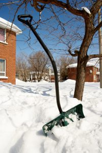shovel in snow