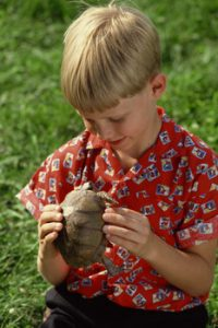 boy w pet turtle